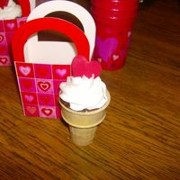 Icecream Cone Cupcake   I made these for my son's class for valentines day.