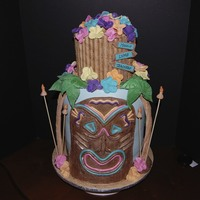 A Hawaiian Luau This cake was created for a Teacher Appreciation Day with a luau theme! While I usually use fondant, both the mask and palm trees are made...
