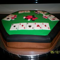 Texas Hold'em Cake For Sil 15 inch hexagonal yellow cake with French vanilla mousse and buttercream icing, then covered with fondant. My SIL loves to play Texas Hold...