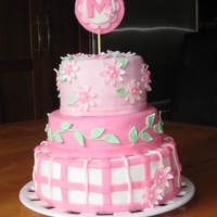 "Pink Birthday Cake Vanilla cake with Chocolate Italian Buttercream and Bavarian Cream fillings. Fondant covering and decorations. For a 'Pink"" 3rd..."