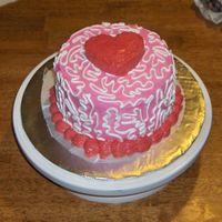 "Valentine's   Made this for my sweet heart, hehe! 6"" done in buttercream with a little cake on top."