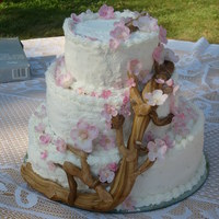Cherry Blossom Wedding Cake. This is my second wedding cake. Ugh! I took cakes all the way from home in Montana to Portland, OR!! I was glad when this one was done too...
