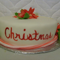 Merry Christmas Cake With Holly And Poinsettas