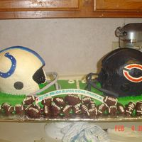 "Super Bowl Cake A lot of work! The ""C"" is backward on teh bears cake - to my chagrin!"