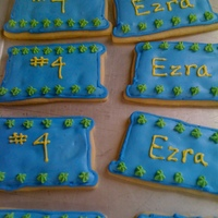 Ezra's Birthday Cookies Sugar cookies covered in royal icing