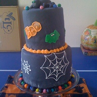 A Halloween Birthday This is a cake I made for my birthday - day before Halloween :) it is 2 tiers covered in fondant with buttercream details