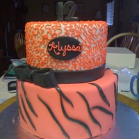 Alyssa's Birthday 2 tiered round birthday cake covered in fondant