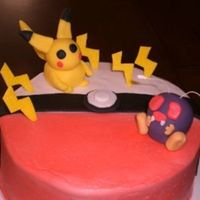 Pokemon Cake   BC icing, pokemon made with fondant.