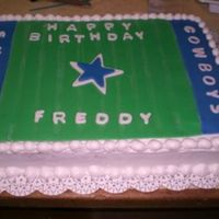 Dallas Cowboys   This was a request for a dallas cowboys cake. It is BC with colored fondant on top for the field.