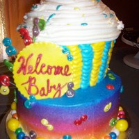 "Candy Shower candy themed baby shower cake. cupcake on top of and 8""round both yellow cake"