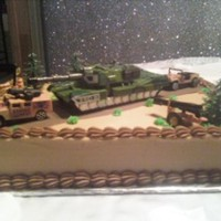 Groom's Cake chocolate with buttercream. Toy decorations, groom was in special forces
