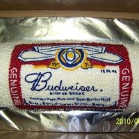 Bud Can Cake birthday cake of a Budweiser can hand drawn and piped in buttercream