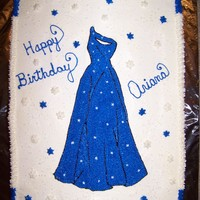 Blue Dress this was a cake for my niece's b-day. It is an exact replica of the dress she wore to the party. Hand drawn and decorated in...