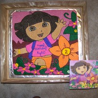 Dora birthday cake is exact copy of the napkin used at the party. Entire cake was hand drawn and completely piped in buttercream