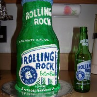 "Rolling Rock Beer   This is my first attempt at a 3D cake. It is 5 6"" round cakes and 3 4"" round cakes all hand drawn and piped in buttercream"