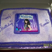 Wizards   cake for a young lady who loves selena gomez. The cake is covered in buttercream, but the picyure of Selena is just a picture