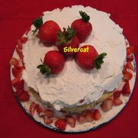 Fresh Strawberry Short Cake Did this for a friend that wanted a real strawberry short cake. Two layers of biscuts, strawberries, and fresh whipped cream!
