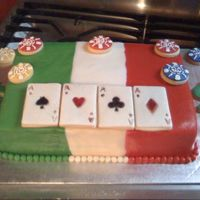 Italian Poker Cake   Chocolate cake with rolled BC. Italian flag with poker accent cookies.