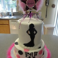 Fab 40  I made this for a girl at work, I am just a hobby baker and always wanted to try the silhouette cake. I did 4 6in rounds and cut the...