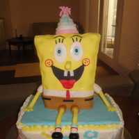 Sponge Bob Sponge Bob is made out of rice krispie treats, my oven broke the week b4....uggghh.. Sponge Bob is covered in all fondant, the cake is...