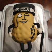 Mr.peanut This is for my daughters birthday, her nickname is Peanut! Its a RKT cake (she does not like cake-how is that possible?) covered in fondant...
