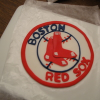Boston Red Sox This was made for a friend at work, she is a huge red sox fan. The cake is covered in buttercream and the logo was made out of fondant. I...