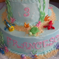 Little Mermaid My 2nd attempt at making this cake, its such a fun cake! Covered in buttercream with fondant accents. Little Mermaid is a Barbie that I...