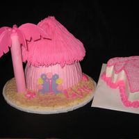 Pink Tiki Hut With Smash Cake Made from Giant Cupcake pan!!