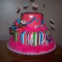 My First Cake To Get Paid For Doing, Since My Cake Classes... This cake was buttercream with fondant accents... This was my first cake since my cake classes that I got paid to do. I love it... I had a...