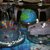 Star Wars Lego Space Cake Hand-carved Star Wars Lego cake inspired by one of my 6 year olds star wars lego spaceships w/ homemade MMF legos.The world is carved cake...