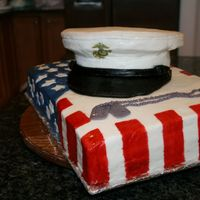 Military Cap On Flag Chocolate cake with chocolate fudge icing. Covered in MMF. Stripes are hand painted on. Used rice crispy treats to form the top of the hat...