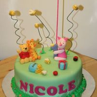 Pooh And Piglet Themed Cake With Flying Bees! Main character was suppose to be piglet so i made piglet bigger than pooh and tigger. The flying bees were per the request of the mom......
