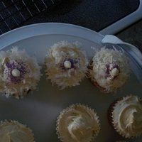 White Chocolate Cupcakes. not a great picture, but these where white chocolate coconut cupcakes for a cupcake party here in town. Purple sprinkles with white...