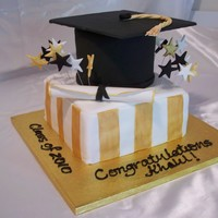 Graduation Cake This is a graduation cake that I did recently for a family member. HIs school colors were gold, black and white.
