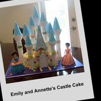 Castle Cake With Princess' Buttercream cake with fondant decorations