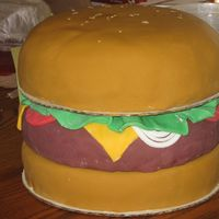 Hamburger Cake I made this for my schools newpaper. one of my best. I am a sophomore in high school