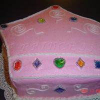 Princess Crown Cake Little girl birtday cake made with party favor rings for the jewels.