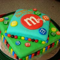 M&m Birthday Cake the rows of M&M's are the actual candy, and the rest is marshmallow fondant.