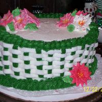 Basket Cake buttercream basket cake with royal icing flowers