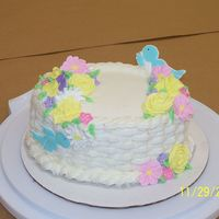 Basket Cake Buttercream Basket with Royal Icing Flowers and Color Flow Birds