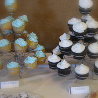 Cupcake Towers Part of the dessert table for a baby shower. Buttercream with sugar pearls and blue sanding sugar.