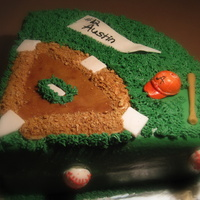 "Batter Up! 12th birthday: dark chocolate cake, cookies n cream filling, buttercream. Graham cracker crumb ""dirt."" Gumpaste pennant, fondant..."