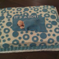 Baby Boy Under Blanket Chocolate cake with vanilla buttercream frosting and fondant accents. The baby and blanket are made from fondant.