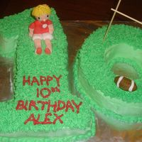 Rugby Themed Number Cake Chocolate cake with vanilla buttercream frosting and filling. Rugby player and ball are made from fondant. TFL!