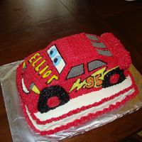 Lightning Mcqueen Vanilla cake with buttercream frosting and filling. TFL!