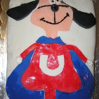 """underdog""   My son's favorite superhero growing up in the 70's -- I made this cake for his 40th birthday!"