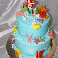 Ariel Birthday Cake Buttercream with fondant accents. But the Ariel is plastic