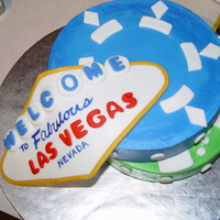 Las Vegas Poker Chips Fondant sign and buttercream chips