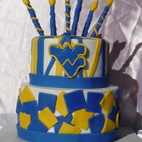 Wvu Football Cake Done with fondant