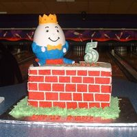 Humpty Dumpty Humpty Dumpty sat on a wall.... well, you know the rest! Hollow white chocolate Humpty Dumpty clothed in royal icing, buttercream 4-layer...